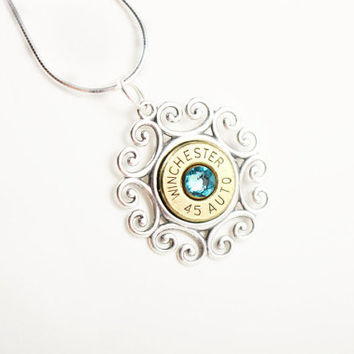 Filigree Sterling Silver Necklace - Bullet Jewelry for Women - Christmas Gift Ideas - Sterling Silver Jewelry - Bridesmaid Necklace - Police