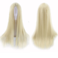 70 Cm Long Straight Blonde Wig No Bangs Middle Part Cosplay Wig Women Heat Resistant Synthetic Hair Wigs Peruca Pelucas