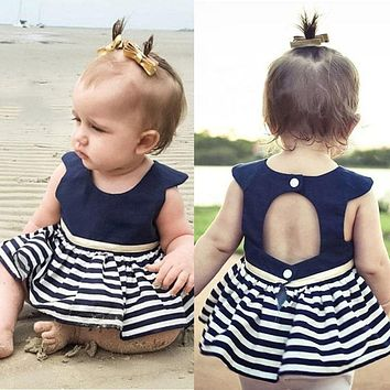 Striped baby clothes dress Newborn Baby Girls Party Princess Pageant Tutu Dress Kid Toddler Navy Blue Dress