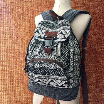 Boho Ikat Aztec Backpack Tribal Festival Holiday Bag Men Women Woven schooll Travel Tapestry Canvas backpack Native Ikat folk Gift for him