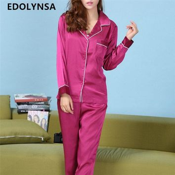 New Arrivals Women Pajama Sets Long Sleeve Vintage Silk Home Clothing Pyjama Femme Pijamas Mujer Sexy Sleepwear Plus Size #L60