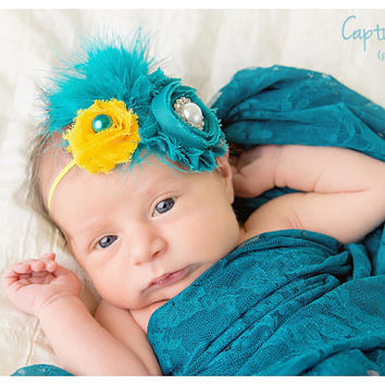 Teal and Yellow Vintage Feather Elastic Headband with gorgeous pearls