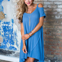 Pretty and Soft High Low Dress Blue