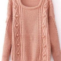 Pink Wool Thicker Long Sleeve Loose Sweater For Women