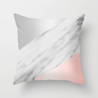 Pink Grey and Marble Collage Throw Pillow by Cafelab