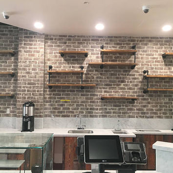 Wall Mounted Industrial Pipe Media Shelving   Industrial Furniture Media  Shelf   Shelving Unit   Urban
