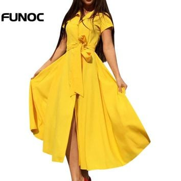 FUNOC 2018 Summer Long Maxi Dress Women Open Slit Button Short Sleeve Long Shirt Dress Female Elegant Boho Beach Dresses Vestido