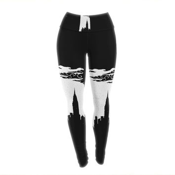 "BarmalisiRTB ""Chrysler Building"" Black White Yoga Leggings"