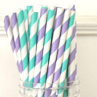 25 Paper Straws, Aqua and Purple, Drinking Straws, Party Straws, Party favors, Wedding supplies, Cake Pops
