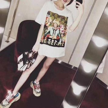 DCCKXT7 Gucci Ignasi Monreal' Women Casual Fashion Oil Painting Portrait Print Short Sleeve T-shirt Top Tee