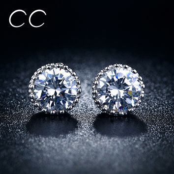 Cc&byx Classic Platinum Plated Cubic Zirconia Stud Earrings For Women Cc-mse001
