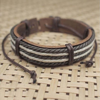 Hot Sale Chic New Surfer Tribal MultiWrap Men's pu Leather / Hemp Cuff Bracelet [9145170630]