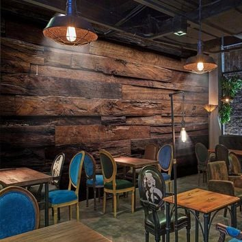 Custom Wallpaper Murals Large Wall Painting Retro Nostalgic Wood Panels Wood Grain Wall Mural De Parede 3D Wallpaper For Walls