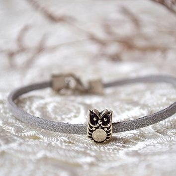 Owl bracelet Pandora charm leather