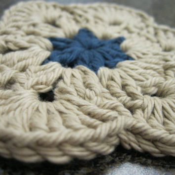 Crochet Coaster - African Flower Coasters - Set of Four Taupe & Denim Blue Coasters or Face Scrubbies
