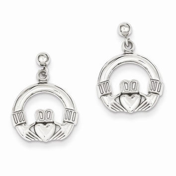 14k White Gold Solid Flat-Backed Claddagh Earrings