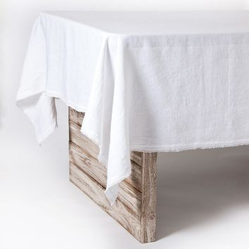 Olivier White Linen Tablecloth