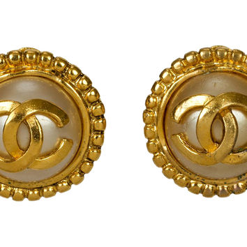 Chanel Faux-Pearl Logo Earrings