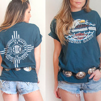 Unisex Vintage 90s Harley Davidson Tee | Worn Old 1994 New Mexico Biker Motorcycle Soft Gray Blue Grunge Distressed T-Shirt | Mens Womens