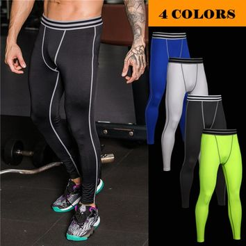 New 2018 Outdoor Pro GYM sport Fitness training stripe high stretch skinny running tights men