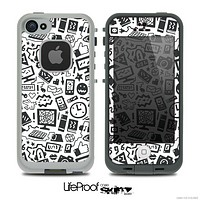 The Black & White Technology Icon Skin for the iPhone 4 or 5 LifeProof Case