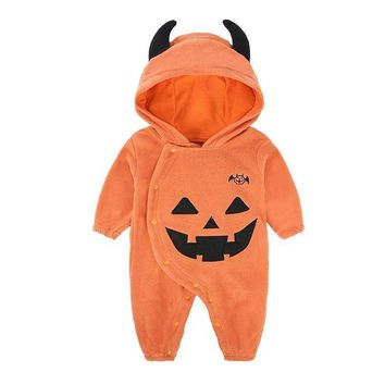 Newborn baby rompers autumn baby one piece jumpsuits Floral Pumpkin Hooded Clothes 2018 Halloween Performance Costumes WUA881