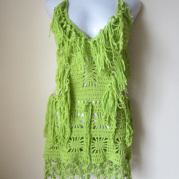 Crochet monokini, Crochet dress, Fringe monokini halter, beach cover up, resort wear, party, gypsy, salsa dancing BRIGHT GREEN