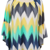 Yellow and Aqua Chevron Tunic Top Plus (3XL)