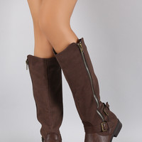 Buckled Zipper Riding Knee High Boot