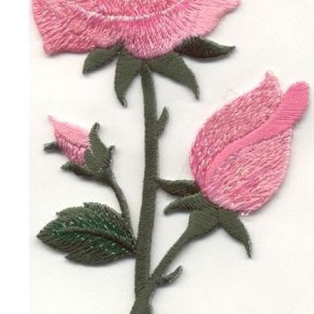 Beautiful Stem Roses Pink Rose Flower Bud Applique ACTUAL SIZE: 2 3/8 X 4 1/2 Iron or Sew On patch by Cedar Creek patch Shop on Etsy