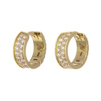Yellow Gold Diamond Huggie Hoops