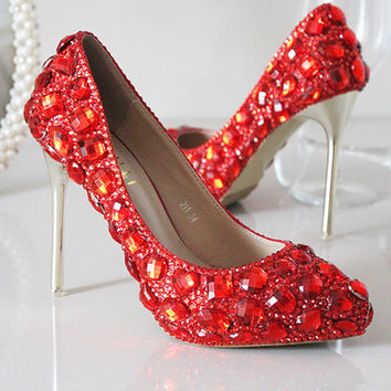 Red Handmade Shinny Heels Shoes Pumps Celebrity Pointed Toe Sparkle Crystal Bridal Heels Shoes Shinny Heels