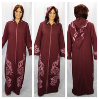 AUTHENTIC DJELLABA Amazing Vintage Traditional Moroccan Embroidered Cloak With Hood
