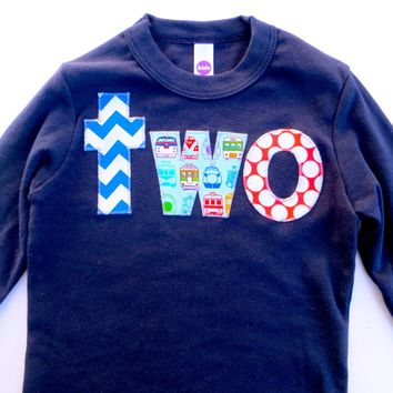 lowercase two Long Sleeve Birthday Shirt  in Navy with chevron, trains, dots for 2 year old