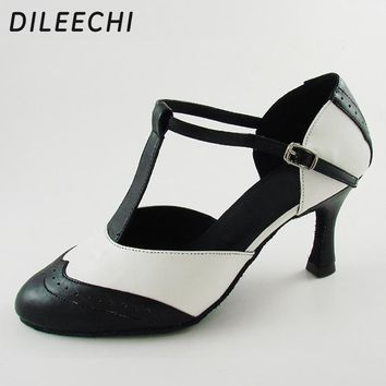 DILEECHI Brand White Real leather T-Strap Latin modern dance shoes Women's High heels 7.5cm Autumn and Winter Black party shoes