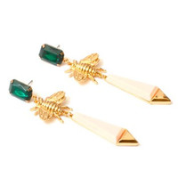 Honey Bee Earrings Dangling Emerald Green Crystal Chandelier EE16 Insect Statement Fashion Jewelry