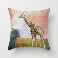 Abstract Giraffe Throw Pillow by Natalie Baca