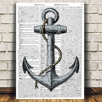 Anchor print Vintage art Antique poster Nautical print RTA1002
