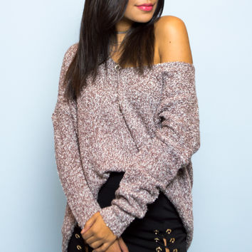 Ruse Oversized V-neck Knit Sweater