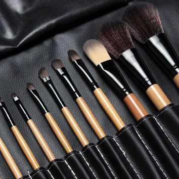15 pcs Soft Synthetic Hair make up tools kit Cosmetic Beauty Makeup Brush Black  Sets with Leather Case