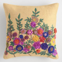 Tan Embroidered Garden Floral Throw Pillow