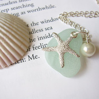 Sea Glass Bridesmaid Starfish Necklace in Seafoam Blue with fresh water pearl - Beach Wedding necklace - Mermaid jewelry - FREE SHIPPING