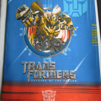 Transformers Bedding Twin Size Flat Bed Sheet Revenge of the Fallen Kids Bedding Boy Craft Fabric Gently Used Clean