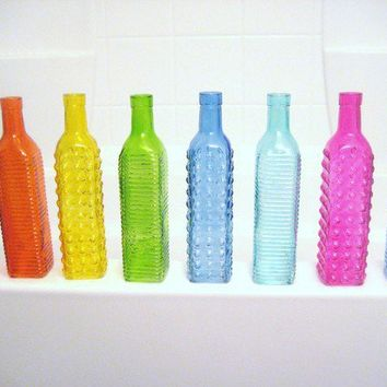 Colorful Tall Glass Bottles Red Orange Yellow by Embellish1122