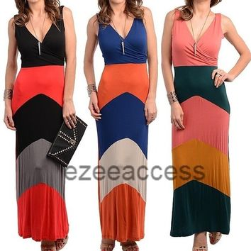 SeXy Women's Dress Chevron Striped Color Block Trendy Long Maxi Sun Dress S,M,L