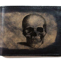 $24.99 Slim BiFold Leather Wallet  Skull by joevleather on Etsy
