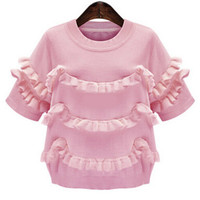 Pink Short Sleeve Ruffled Knit Sweater