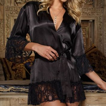 Satin Lace Lingerie Sleepwear