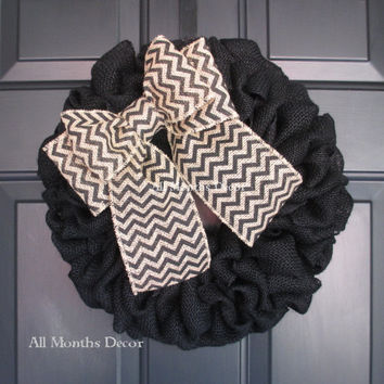 Black Burlap Wreath with Black Chevron Bow