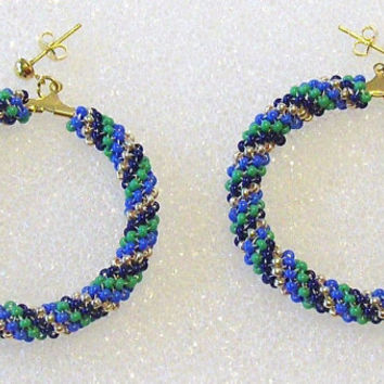 Spiral Peyote Beaded Hoop Earrings With Preciosa Czech Seed Beads